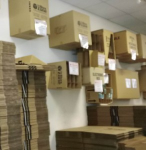 cardboard boxes in all sizes